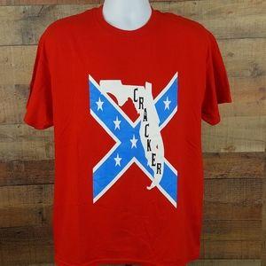 Florida Cracker Graphic T-Shirt Men's Red Size L D